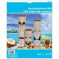 Paper Tiki Totem Pole Centerpiece Decorations, 3-Count