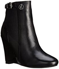 Armani Jeans Women's Patent Wedge Boot, Black, 37 EU/7 M US