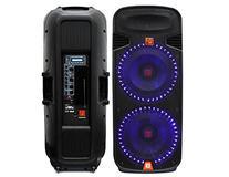 Mr. Dj PBX6100LED Dual 15-Inch 3-Way Portable Speaker with