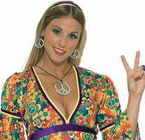 Hippie Peace Sign Necklace and Earrings, One-Size, Silver