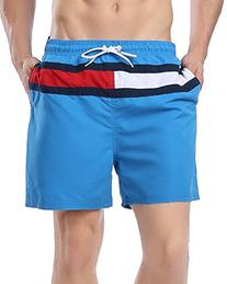 ABUSA Men's Peach Skin Beach Shorts Swim Trunks Blue