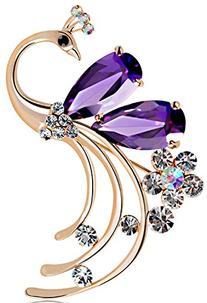 Latigerf Women's Peacock Bird Purple Swarovski Elements