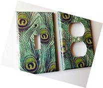 Peacock Light Switch Plate Cover - Various Sizes Offered