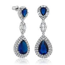 Pear Shape Blue Simulated Sapphire and Zirconia Dangle