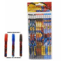Spiderman Pencils 12 and 1 Eraser
