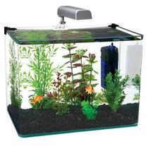 Penn Plax Curved Corner Glass Aquarium Kit, 10-Gallon