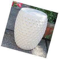 Perforated Drum Ceramic Garden Stool, Antique White Glaze