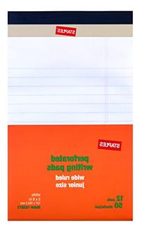 "Staples Perforated Notepad, Narrow Ruled, White, 5"" x 8"", 12"