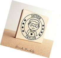 Large Personalized Superhero Boy Rubber Stamp