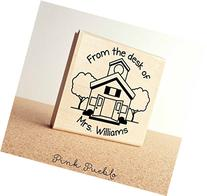Large Personalized Teacher Schoolhouse Rubber Stamp