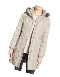Petite Women's London Fog Down & Feather Fill Coat With Faux