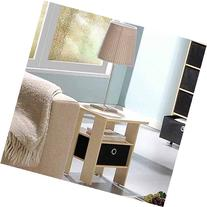 Petite End Table Bedroom Night Stand with Foldable Bin