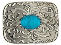 Pewter Belt Buckle with Turquoise Stone