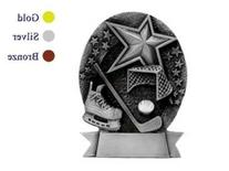 6 Inch Pewter Hockey Sports Star Winning Championship Plaque