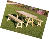 Outdoor 6 Foot Pine Picnic Table with 2 Benches Detached *