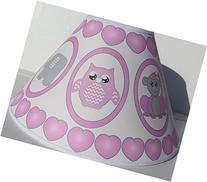 Pink Baby Safari Lamp Shade with Elephants, Owl, Zebra,