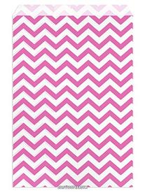 Set of 100 Size 6x9 Pink Chevron Paper Bags, by My Craft