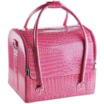 Pink Crocodile Makeup Train Bag Handbag Case w/ Removable