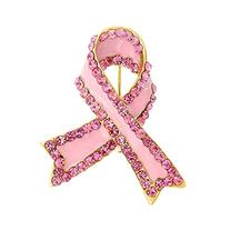 Bling Jewelry Pink Crystal Enamel Breast Cancer Ribbon Pin