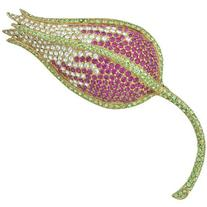 Ciner Pink Crystal Flower Brooch
