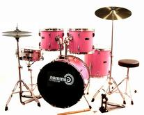 Pink Drum Set For Sale Complete Full-Size Kit with Cymbals