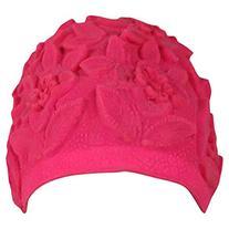Luxury Divas Hot Pink Floral Vintage Style Latex Swim