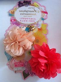 Japan Pink Flower Twins Rhinestone Headphone Dust Plug Charm
