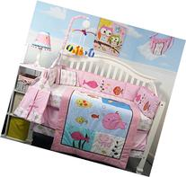 SoHo Pink Gold Fish Aquarium Baby Crib Bedding Set 13 pcs