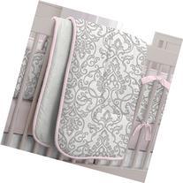 Pink and Gray Filigree Crib Comforter