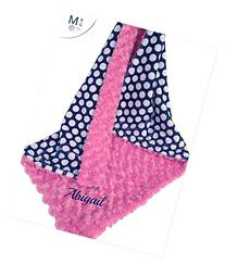 Pink and Navy Blanket - Hot Pink Rose Swirl and Navy Polka