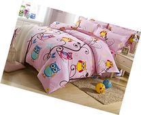 Cliab Pink Owl Bedding for Teen Girls Full Size Duvet Cover