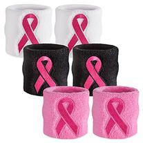 Suddora Black - Pink Ribbon Sweat Wristbands - Breast Cancer