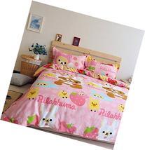 LELVA Pink Rilakkuma Bedding Sets, Kids Bedding Girls,