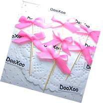 """DOOXOO 2"""" Hot Pink Satin and Glitter Bow Cupcake Toppers or"""