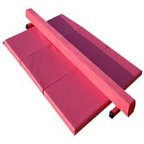 8ft Pink Suede Balance Beam and Pink Folding Panel Mat