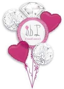 Hot Pink White Silver I DO Wedding Ring 5 Balloon Bouquet