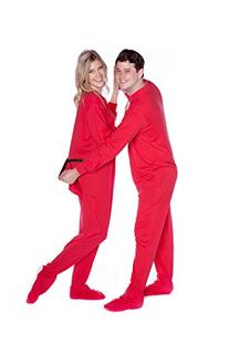 Big Feet Pjs Red Cotton Jersey Adult Footed Pajamas w/ Drop-