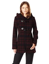 Jessica Simpson Women's Plaid Wool Duffle Coat with Hood,