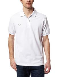 Fred Perry Men's Plain Polo, White/Navy, Medium