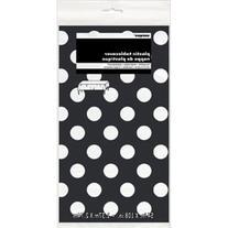 "Plastic Black Polka Table Cover, 54"" x 108"