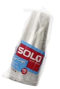 Solo  10-Ounce Plastic Clear Cups, 18-Count Packages