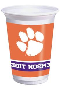 Plastic Cups, 20 Oz, Clemson Univ, Sold By The Case: 8 per