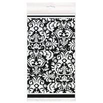"Black Damask Plastic Tablecloth, 84"" x 54"
