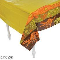 "Plastic Dinosaur Dig Tablecloth - 54"" x 108"