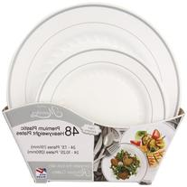 Masterpiece Plastic Plate Combo Pack, Large and Small, 48