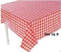 Plastic Red and White Checkered Tablecloths - 6 Pc - Picnic