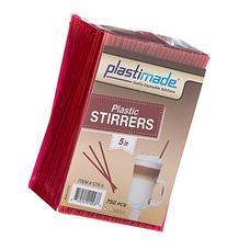 Plastimade Plastic Sip Stirrers 5 Inch 750/box, Red