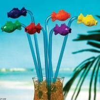 12 Pack of Plastic Tropical Fish Straws