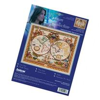 Platinum Collection Olde World Map Counted Cross Stitch Kit-