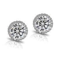 18K Platinum-Plated Cluster Round Cut Stud Earrings